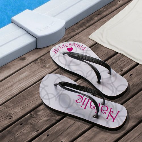 For Her :: Personalized Wedding Party Flip Flops