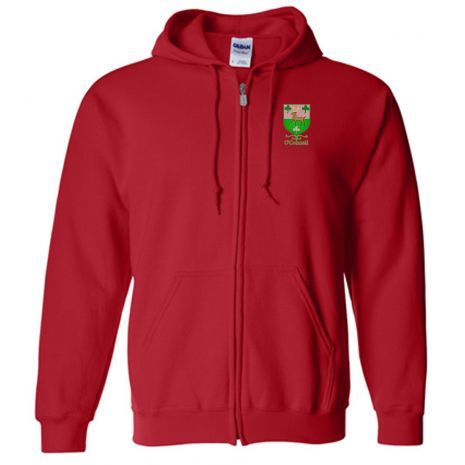 Embroidered Coat of Arm Zip Up Hoodie